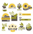 olive and sunflower oil extra virgin flat logotype vector image