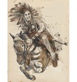Indian Chief riding a horse vector image