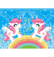 Card with a cute unicorns and rainbow vector image vector image