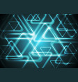 Dark cyan glowing triangles Tech geometric vector image vector image