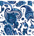 Blue colored paisley seamless pattern hand drawn vector image