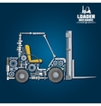 Forklift truck silhouette composed of details vector image