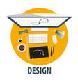 design flat icon design freelance vector image