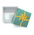 gift box with ribbon bow and open cover 3d vector image