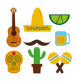 mexican hat guitar skull maraca tequila cactus vector image