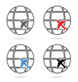 planet with airplane set vector image