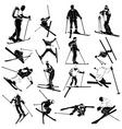 Ski silhouette people vector image