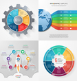 set of 4 infographic templates with 6 processes vector image