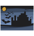 bats flying in the moonlight and old castle vector image