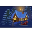 House decorated for Christmas vector image vector image