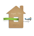 House cut out of cardboard with airplane vector image