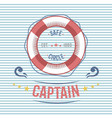 lifebuoy nautical and marine sailing themed label vector image