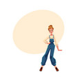 girl in 1990s style denim jumpsuit at retro disco vector image