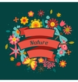 Card with beautiful simple flowers beetles and vector image vector image