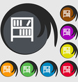 Bookshelf icon sign Symbols on eight colored vector image