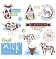 Milk decorative elements vector image
