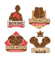 boxing club colorful logotypes set isolated on vector image