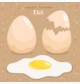 cartoon broken and fried egg vector image