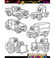 cartoon vehicles set for coloring book vector image