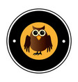 circular frame with halloween owl vector image