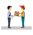 Delivery Man Gives Package vector image