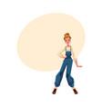 girl in 1990s style denim jumpsuit at retro disco vector image