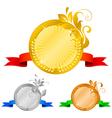 Medals set 5 floral decorations vector image