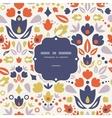 Ornamental folk tulips frame seamless pattern vector image