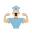 sailor man bearded cap nautical muscular vector image