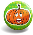 Pumpkin on the round badge vector image