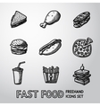 Set of freehand FAST FOOD icons - sandwich vector image