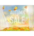 fallen leaves and curtains vector image vector image