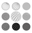 set of black and white vektor globe vector image vector image