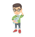 caucasian boy in glasses crying and holding toy vector image