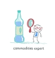 commodities expert with a magnifying glass looking vector image