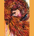 hand drawn fox in watercolor vector image