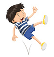 Little boy bouncing up and down vector image