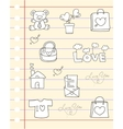 love hand draw paper vector image