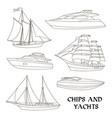 ships and yachts set vector image