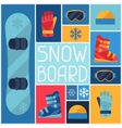 Sports background with snowboard equipment flat vector image