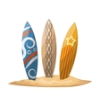 Surfboards stuck in the sand vector image