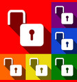 unlock sign set of icons vector image
