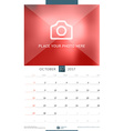 Wall Monthly Calendar for 2017 Year October Design vector image