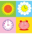 set of colorful background with clock vector image