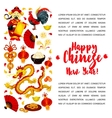 Chinese Lunar New Year symbols poster design vector image