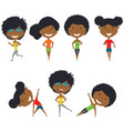 running and work out african-american girls vector image vector image