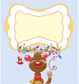 Funny reindeer with christmas lights vector image vector image