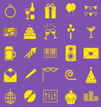 Celebration yellow icons on violet background vector image