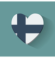 Heart-shaped icon with flag of Finland vector image