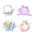Set of flower frames and labels vector image vector image